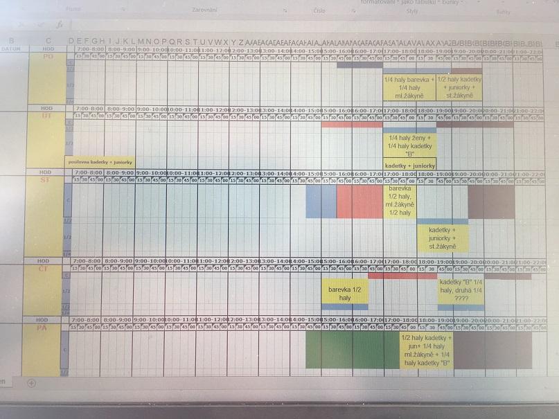 Foto: rozpis tréninků - hala od 3.9.2018